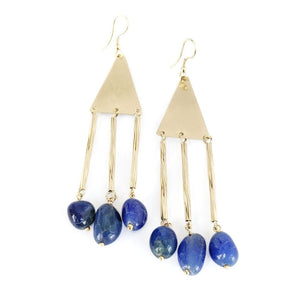 Brass Drop Earrings w/Lapis Lazuli