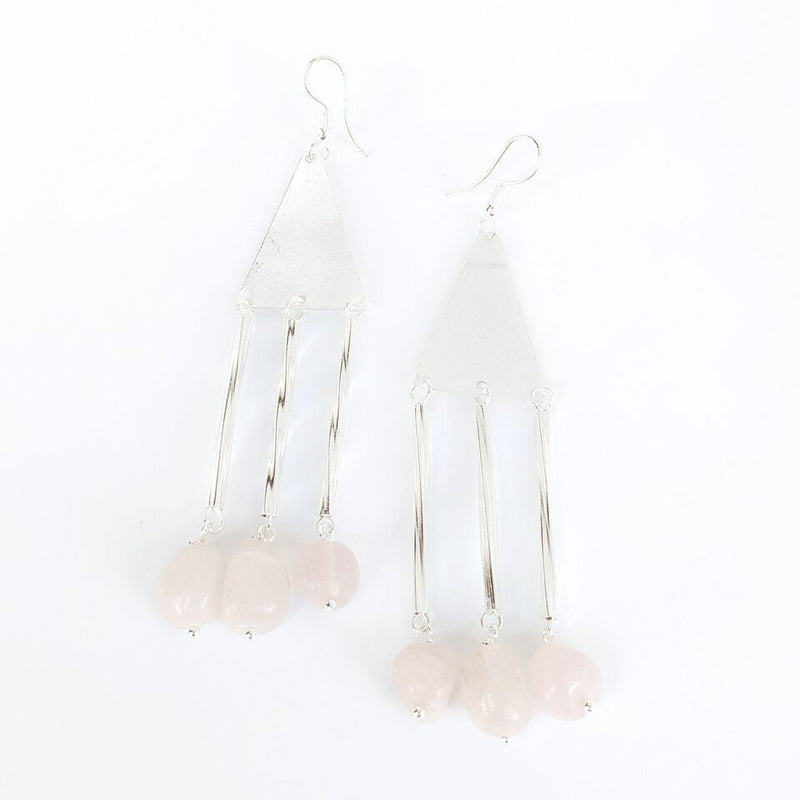 Silver Plated Brass Drop Earrings w/Rose Quartz