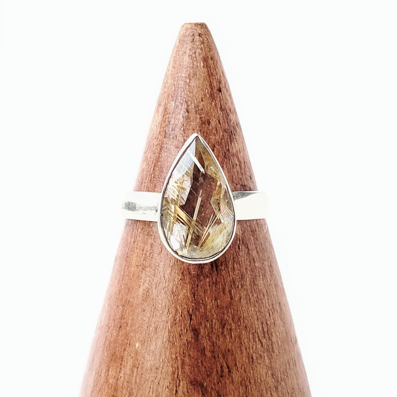 Faceted Sterling Silver Golden Rutilated Quartz Ring