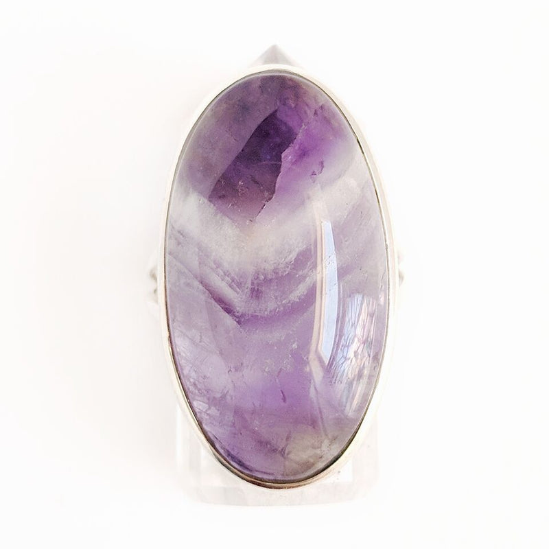 Sterling Silver Oval Lace Amethyst Ring