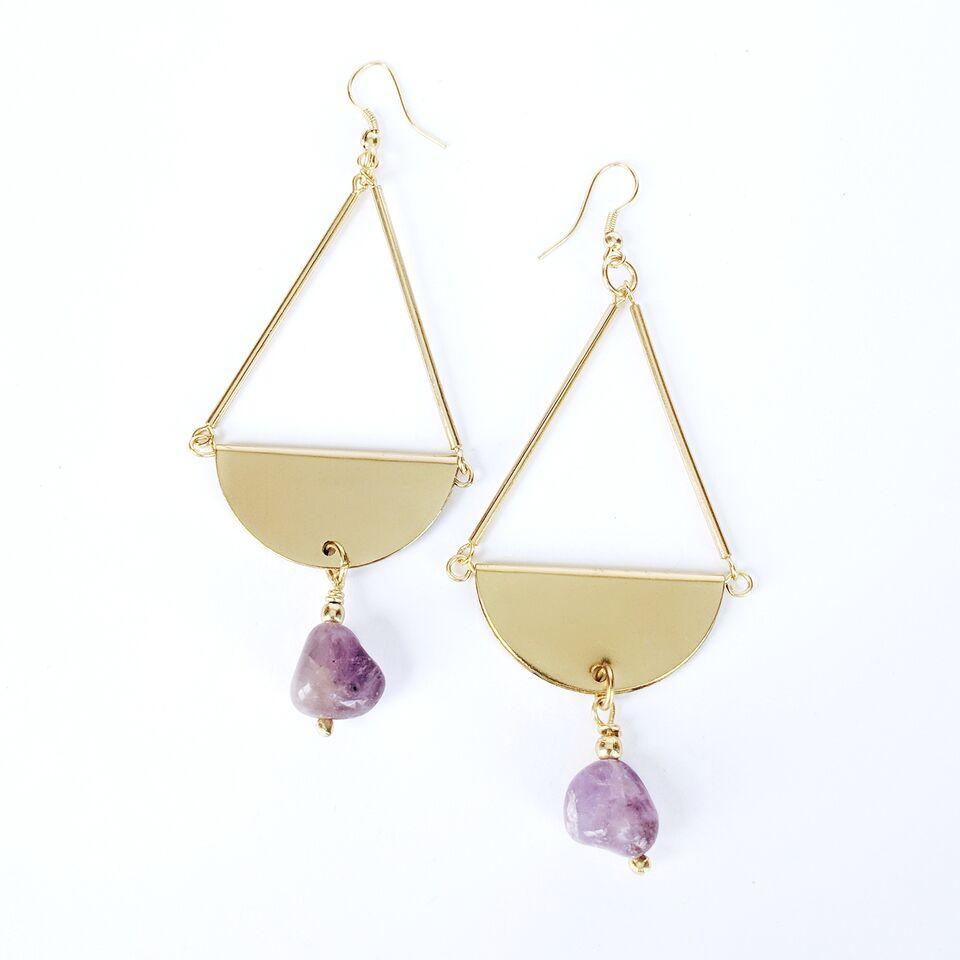 Brass Teardrop Earrings w/Amethyst