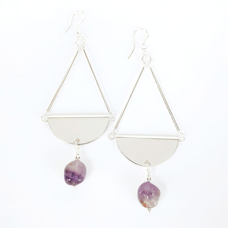 Silver Plated Brass Teardrop Earrings w/Amethyst