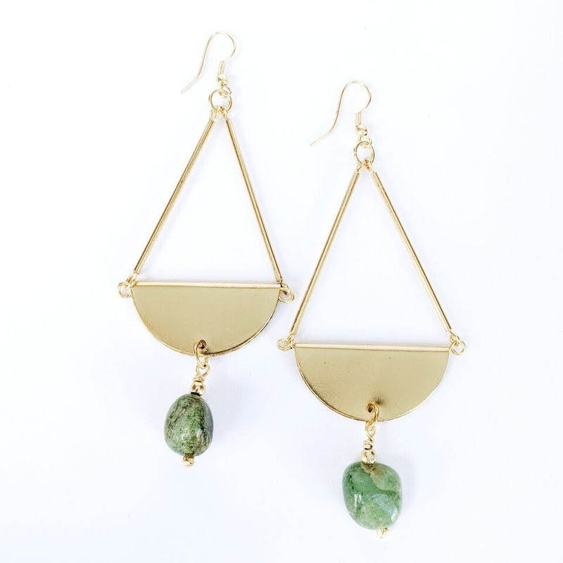 Brass Teardrop Earrings w/Adventurine