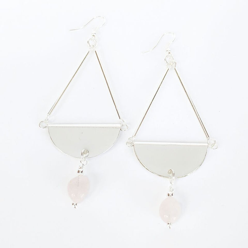 Silver Plated Brass Teardrop Earrings w/Rose Quartz