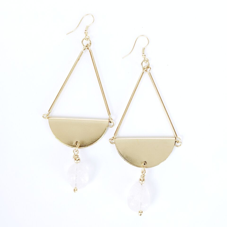 Brass Teardrop Earrings w/Crystal Quartz