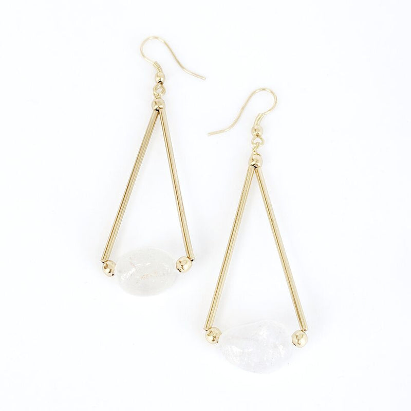 Brass Triangle Drop Earrings w/Crystal Quartz