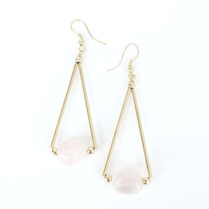 Brass Triangle Drop Earrings w/Rose Quartz