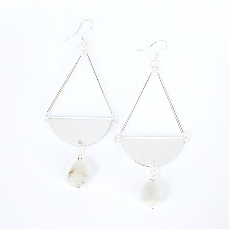 Silver Plated Brass Teardrop Earrings w/Crystal Quartz