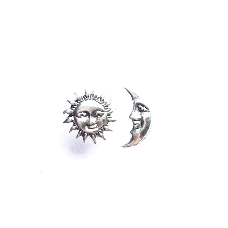 Sterling Silver Sun + Moon Studs