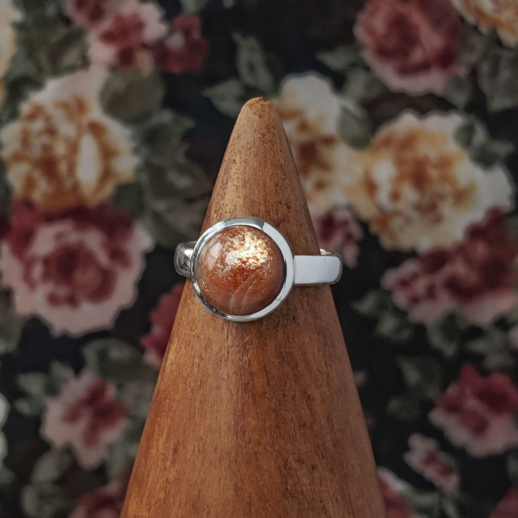 Sterling Silver Sunstone Stone Ring