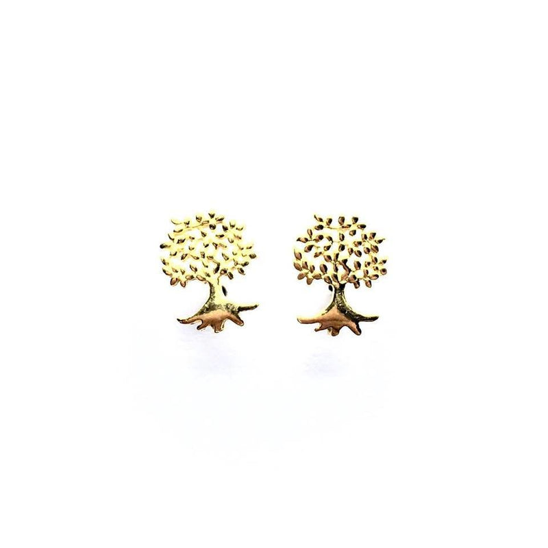 Gold Plated Sterling Silver Tree of Life Studs
