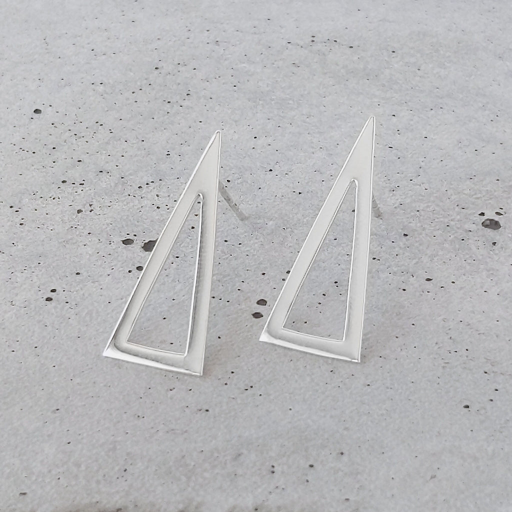 Sterling Silver Cut Out Triangle Studs