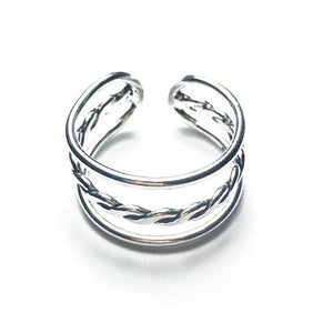 Sterling Silver Triple Ring w/Twisted Band