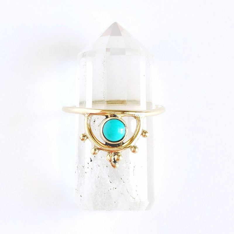 Detailed Turquoise Brass Ring