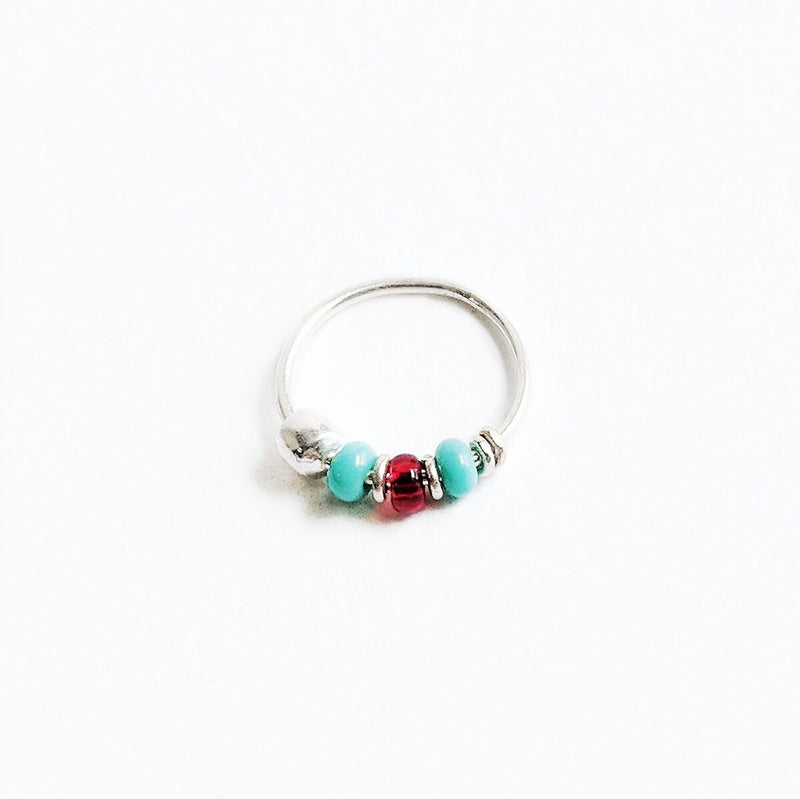 Turquoise + Red Beaded Sterling Silver Nose Hoop