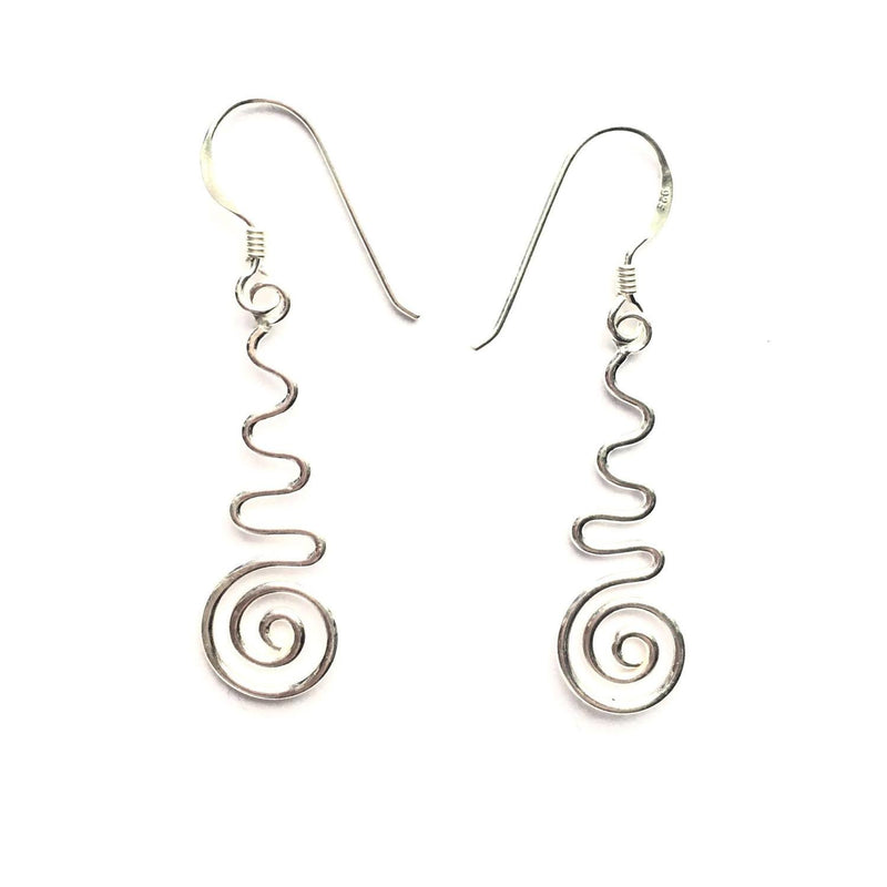 Sterling Silver Wavy Swirl Earrings