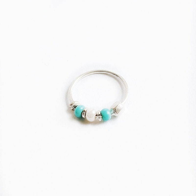 Turquoise + White Beaded Sterling Silver Nose Hoop