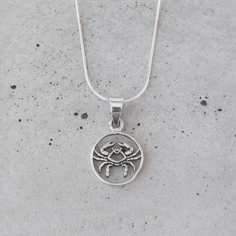 Sterling Silver Cancer Zodiac Pendant