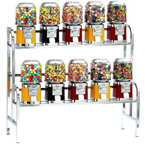 10-Unit Gumball & Bulk Candy Vending Rack - Gumball Machine Warehouse