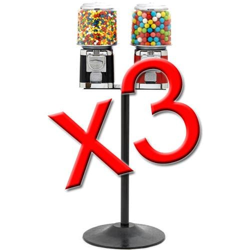 3 Double All Metal Classic Gumball Machines - Gumball Machine Warehouse