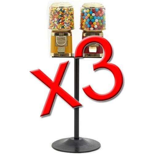 3 Double All Metal Gumball Machines - Gumball Machine Warehouse