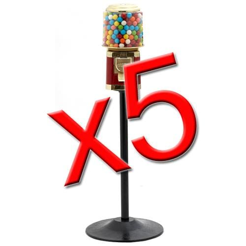 5 All Metal Gumball Machines W/ Stands - Gumball Machine Warehouse