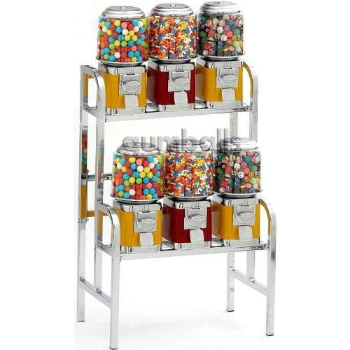 6-Unit Gumball & Bulk Candy Vending Rack - Gumball Machine Warehouse