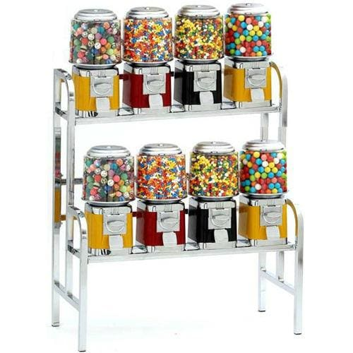 8-Unit Gumball & Bulk Candy Vending Rack - Gumball Machine Warehouse