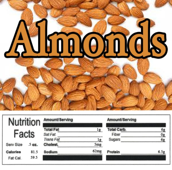 Almond Product Label With Nutrition Information - Gumball Machine Warehouse
