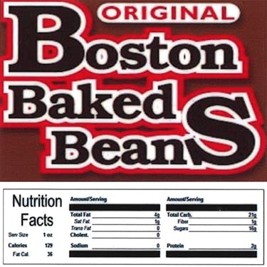 Boston Baked Beans Product Label With Nutrition Information - Gumball Machine Warehouse
