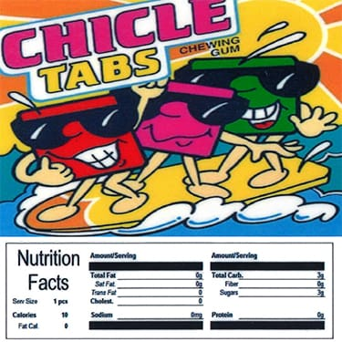 Chicle Tabs Product Label With Nutrition Information - Gumball Machine Warehouse