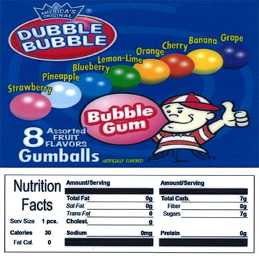 Dubble Bubble Gumball Product Label With Nutrition Information - Gumball Machine Warehouse