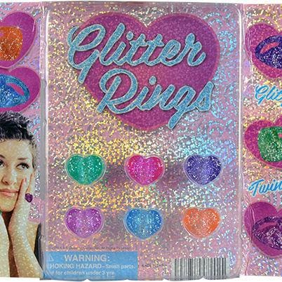Glitter Heart Rings In 2 Inch Toy Capsules - Gumball Machine Warehouse