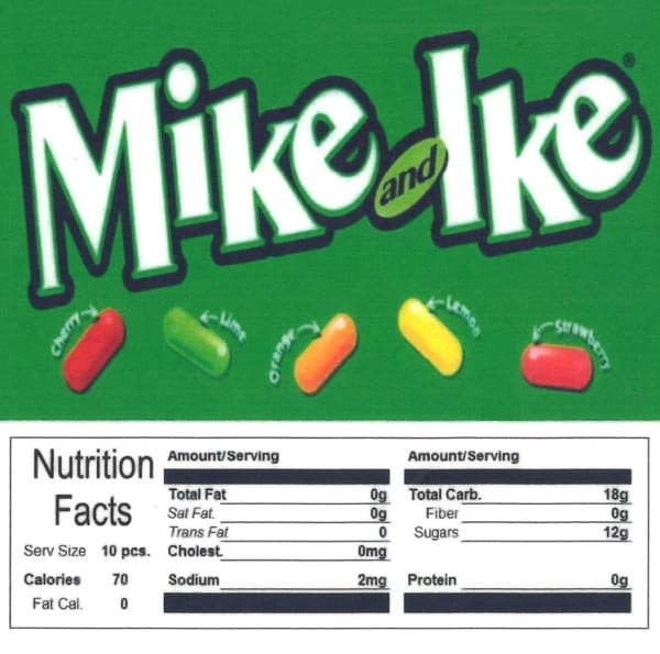 Mike & Ikes Product Label With Nutrition Information - Gumball Machine Warehouse
