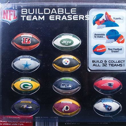 Nfl Football Puzzle Erasers In 2 Inch Toy Capsules - Gumball Machine Warehouse