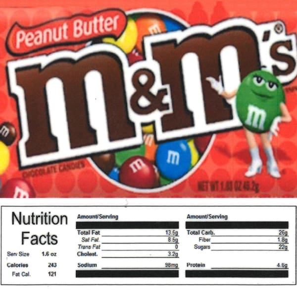 Peanut Butter M Ms Product Label With Nutrition Information Gumball Machine Warehouse