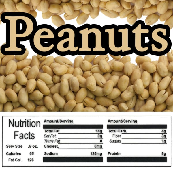 Peanut Product Label With Nutrition Information - Gumball Machine Warehouse