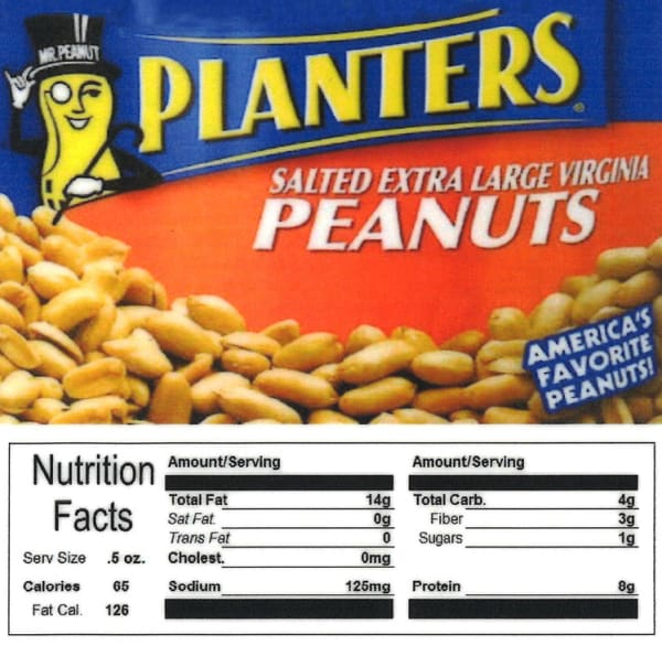 Planters Peanut Product Label With Nutrition Information - Gumball Machine Warehouse
