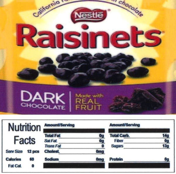 Raisinets Product Label With Nutrition Information - Gumball Machine Warehouse