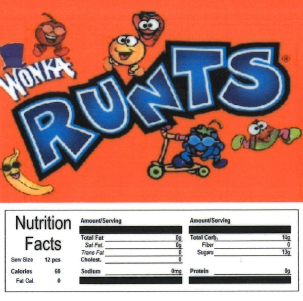 Runts Product Label With Nutrition Information - Gumball Machine Warehouse