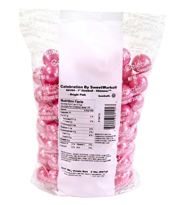 Shimmer Bright Pink Gumballs (2 Lb Bag) - Gumball Machine Warehouse