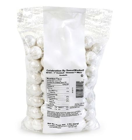 Shimmer White Gumballs (2 Lb Bag) - Gumball Machine Warehouse