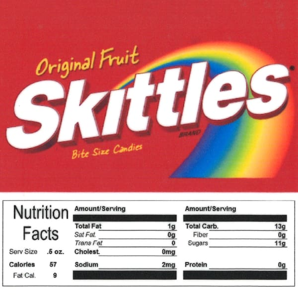Skittles Product Label With Nutrition Information
