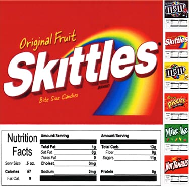 Test - Product Labels With Nutrition Information (Pack Of 10) - Gumball Machine Warehouse