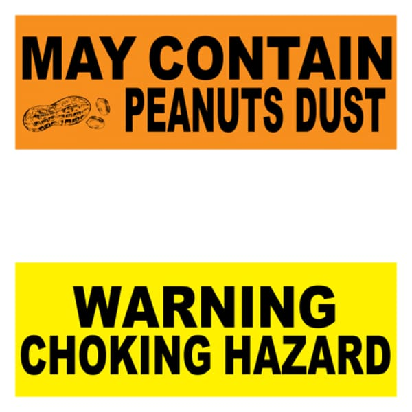 Warning Labels (Pack Of 15) - Gumball Machine Warehouse