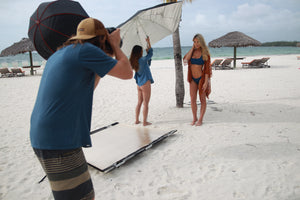 Hooters Calendar Bahamas Beach Photo Shoot Cameron Melcher Karlie Collins