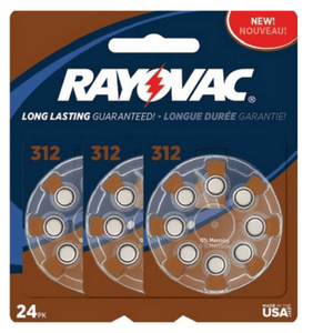 Rayovac Size 312 Hearing Aid Batteries, 24 Count