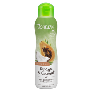TropiClean, Dog & Cat Hygiene, Shampoos & Conditioners, Luxury 2-in-1 Papaya & Coconut Conditioning Shampoo (2 Sizes)