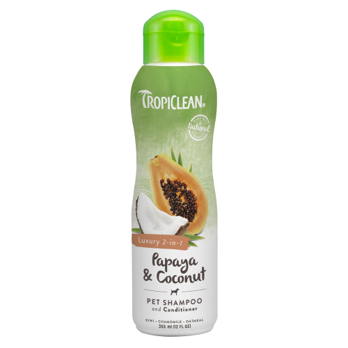 TropiClean, Dog & Cat Hygiene, Shampoos & Conditioners, Luxury 2-in-1 Papaya & Coconut Conditioning Shampoo