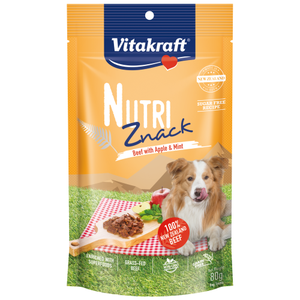 Vitakraft, Dog Treats, Air Dried, Nutri Znack, Beef with Apple & Mint